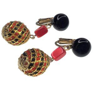 Vintage Clip On Earrings Dangle JAPAN Black Red